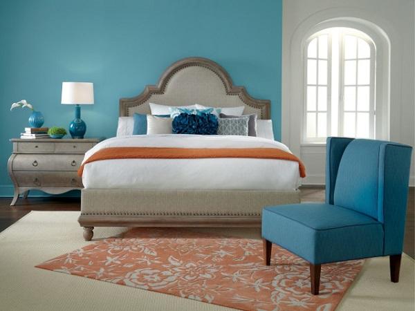 Cor salmão no tapete de quarto de casal