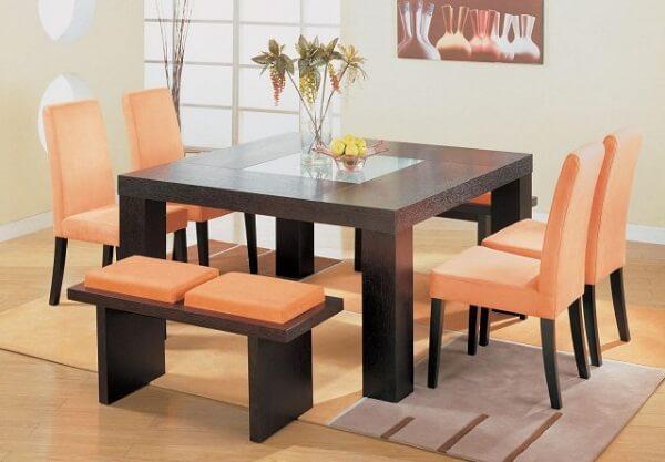 Cor salmão para cadeira da sala de jantar
