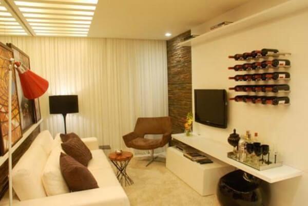 Decoração de sala simples e barata com bar na sala