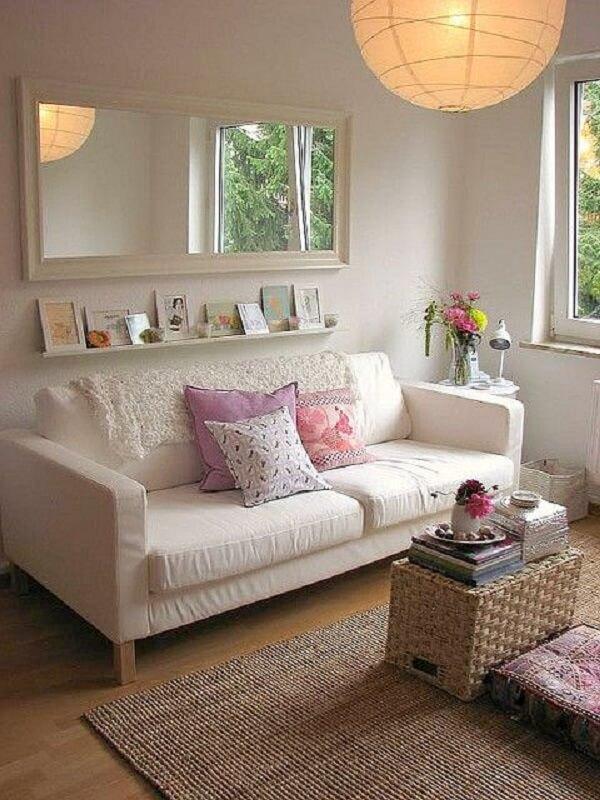 Decoração de sala simples e barata com fibras naturais