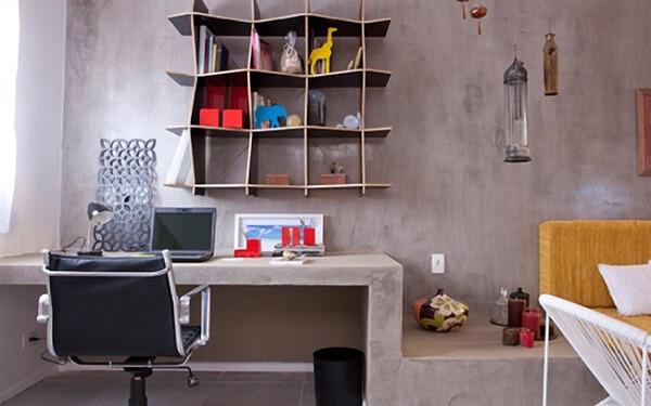 Decoração de sala simples e barata com móveis feitos de concreto