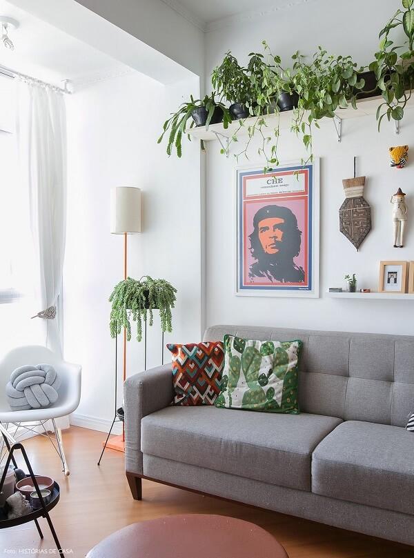 Decoração de sala simples e barata com prateleira de plantas