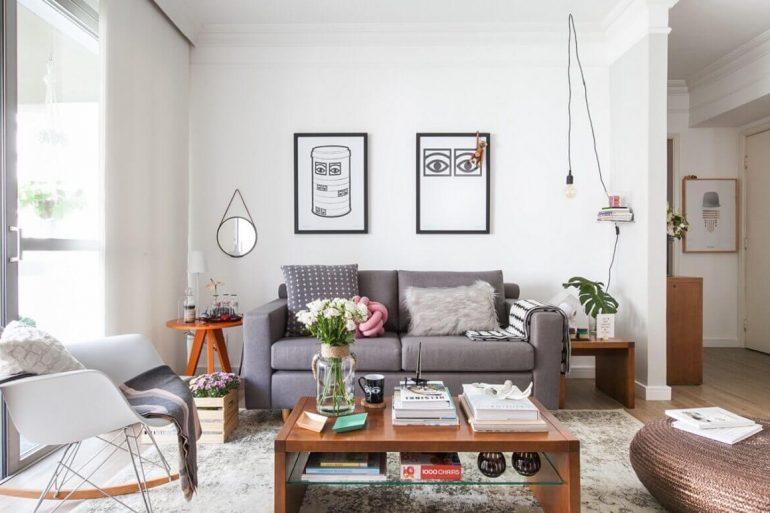Decoração de sala simples e barata com tons neutros