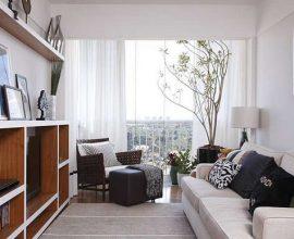 Decoração des sala simples e barata com estante de nichos