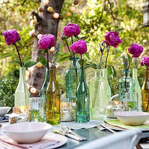 Mother's Day decoration with plant bottles