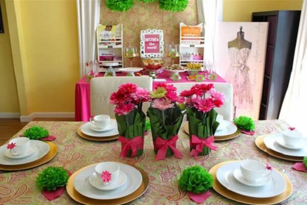 Decoração dia das mães exemplo para decorar mesa de igreja