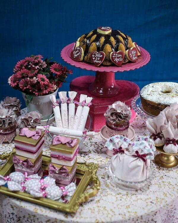 Decoração dia das mães mesa de doces