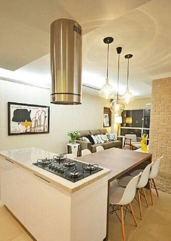 Granito branco marfim para decoração de cozinha com ilha Foto HGTV Decor