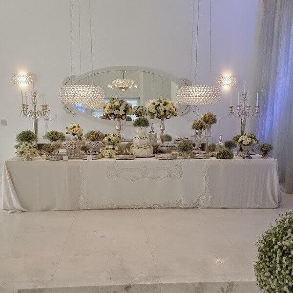 Mesa de batizado do filho de Ana Hickmann