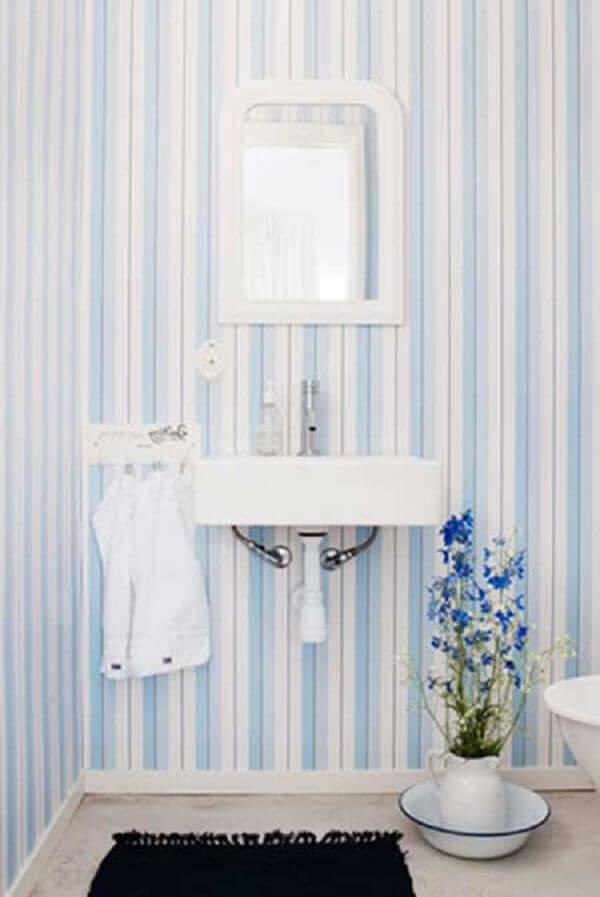 Papel de para para lavabo azul claro