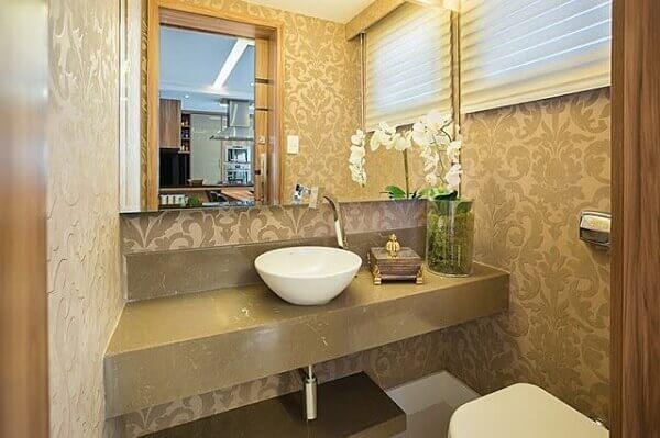 Papel de parede para lavabo com estampa