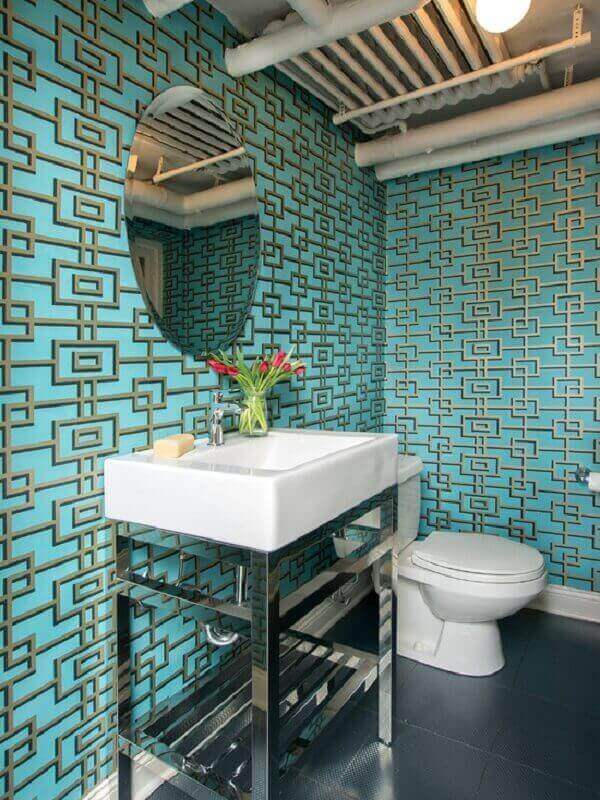 Papel de parede para lavabo com estampas geométricas