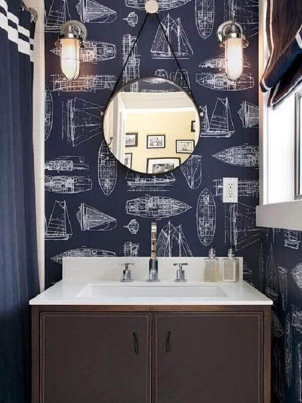 Papel de parede para lavabo com ilustrações