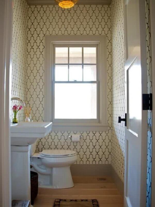 Papel de parede para lavabo creme