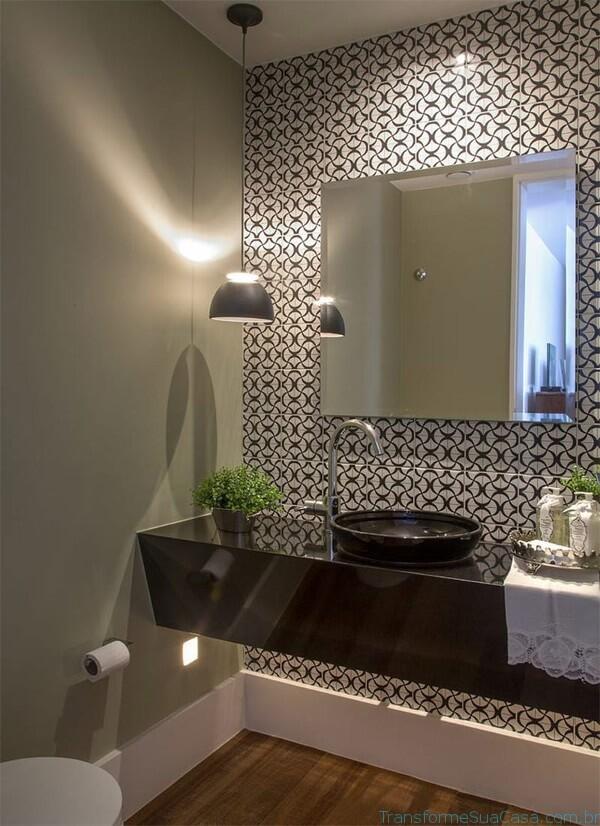 Papel de parede para lavabo em preto e branco