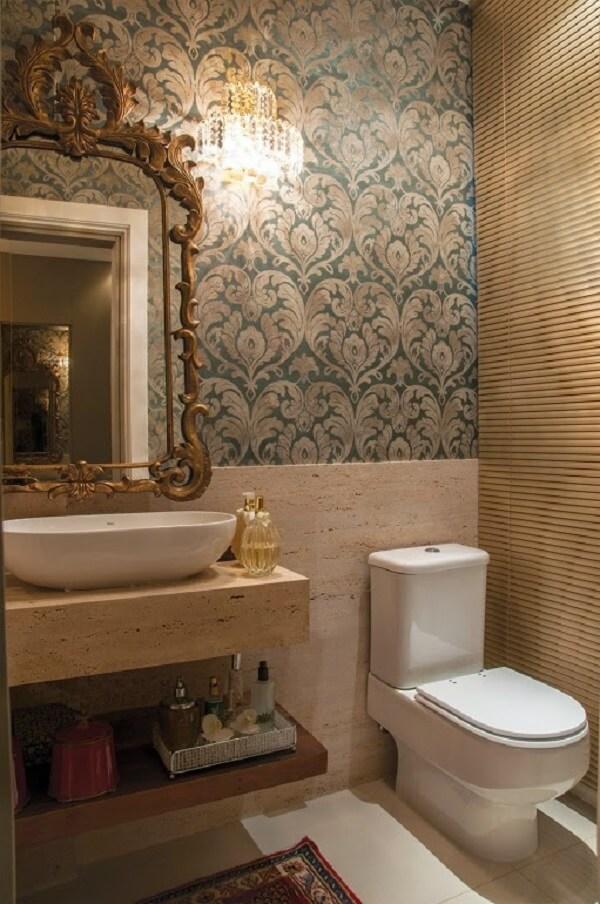 Papel de parede para lavabo estampado