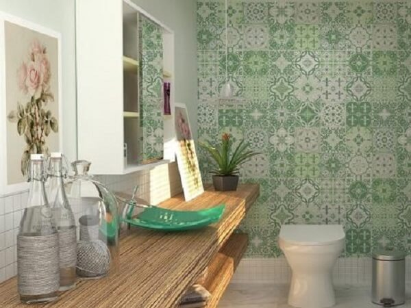 Papel de parede para lavabo na cor verde