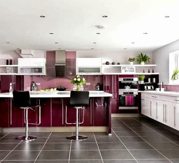 Roxo na decoração de cozinha