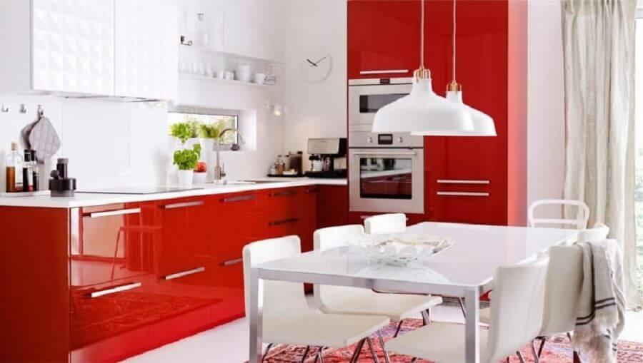 armário de cozinha vermelho Foto Pinterest