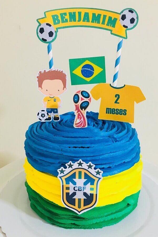 bolo mesversário com tema futebol Foto Pinterest