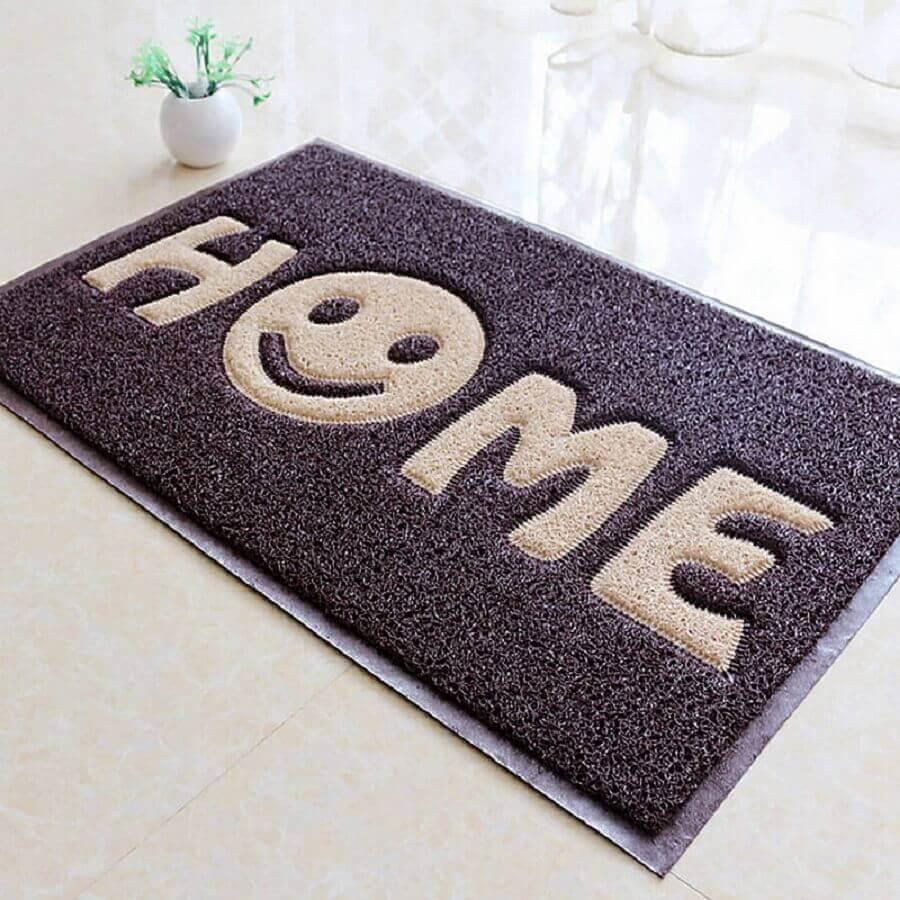 capachos divertidos escrito HOME com carinha sorridente Foto AliExpress
