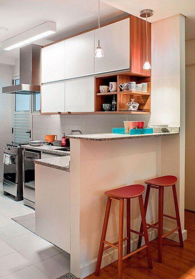 cozinha americana decorada com bancada de granito branco siena Foto Beyato