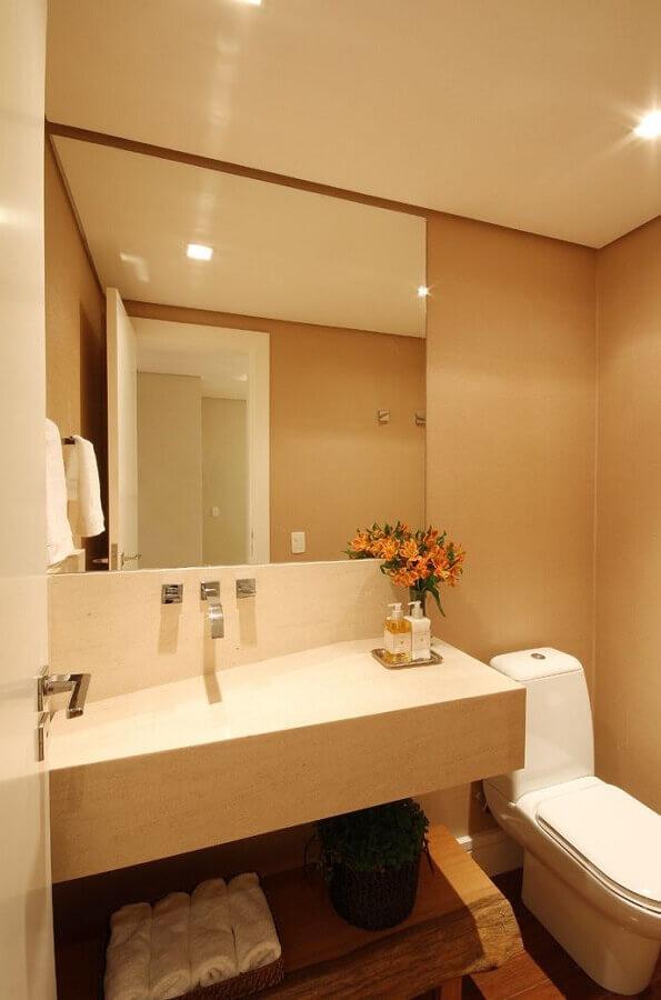 cuba esculpida para decoração de lavabo em cores neutras  Foto Vivian Design