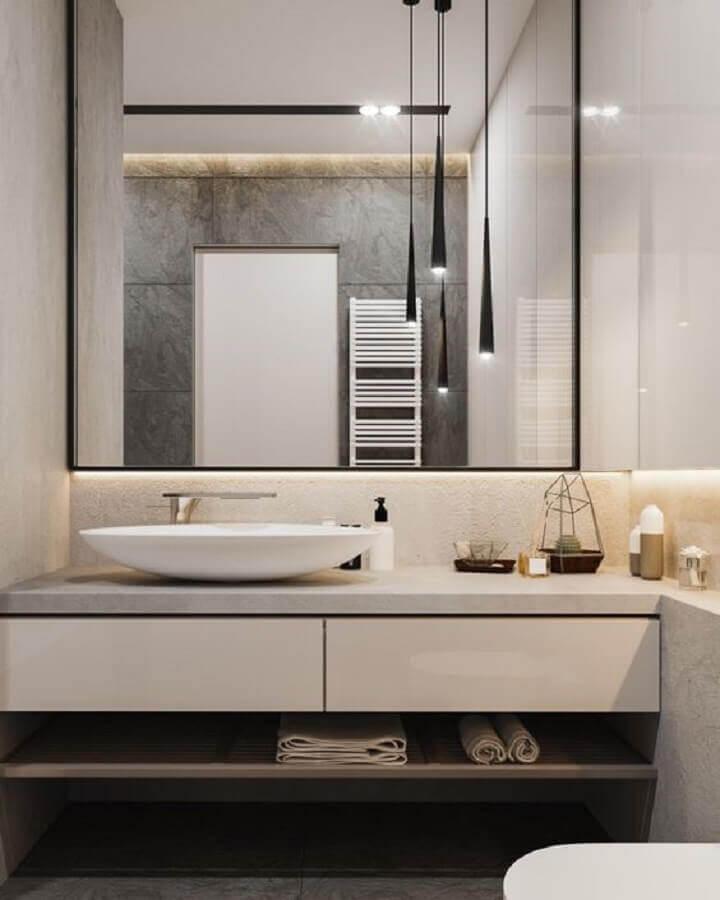 cuba para lavabo pequeno decorado com luminária pendente preta Foto Behance