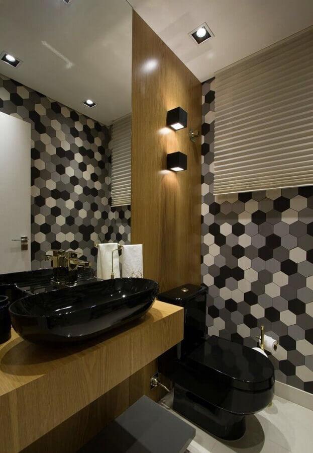 cuba preta para lavabo decorado com revestimento em madeira Foto Pinterest