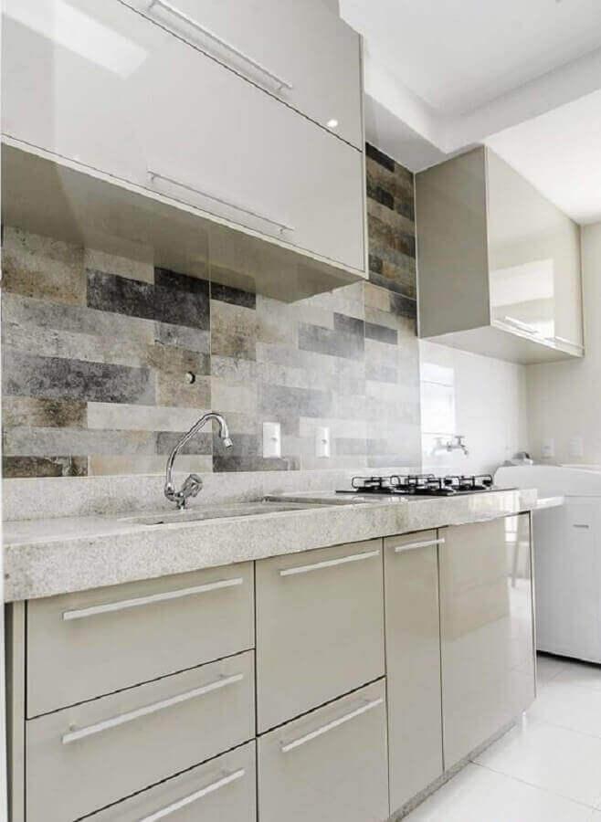 decoração clean para cozinha com granito branco Foto Pinterest