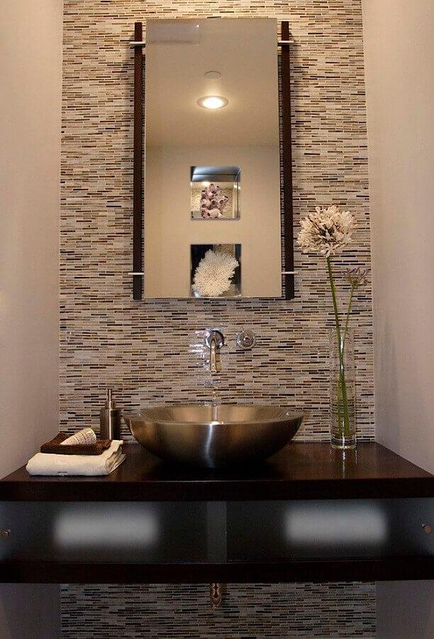 decoração com cuba para lavabo feita em inox Foto Pinterest