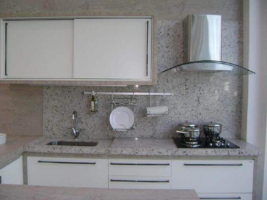 decoração com granito branco para cozinha pequena Foto Marmorial