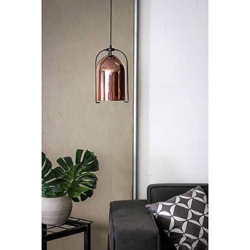 decoração com pendente na cor cobre Foto Pinterest