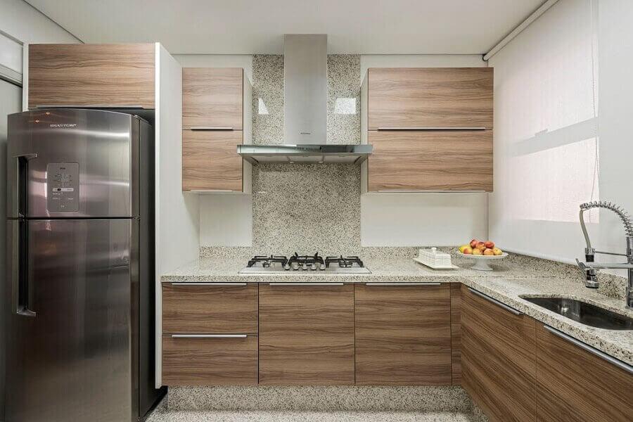 decoração cozinha planejada com granito branco Ceará Foto Pinterest