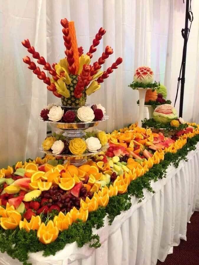 decoração de mesa de frutas para casamento Foto Pinterest