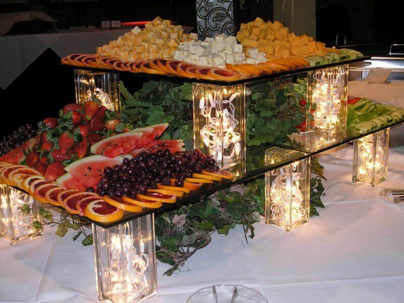 decoração de mesa de natal de frutas com folhagens e pisca pisca Foto Air Freshener