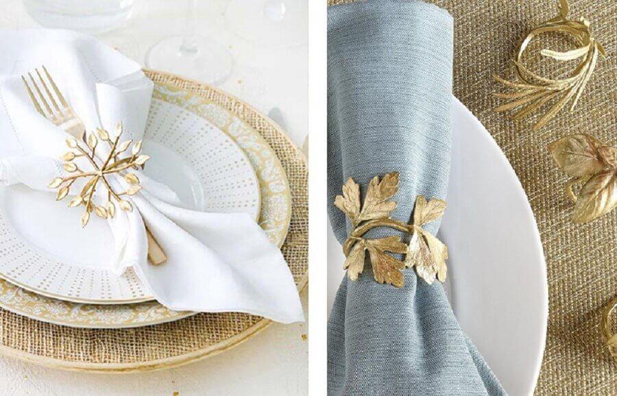 decoração de mesa posta com porta guardanapo dourado