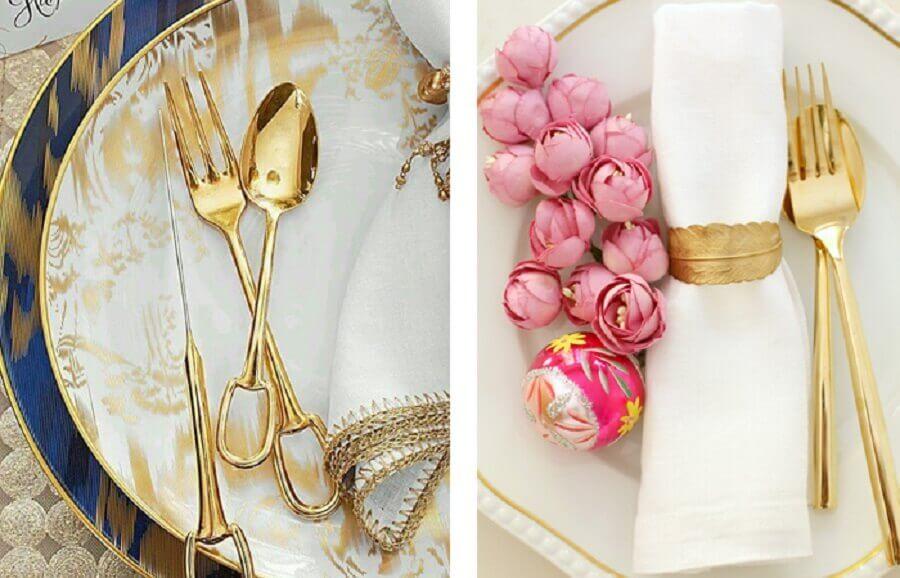 decoração de mesa posta com talheres dourados