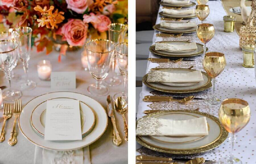 decoração de mesa posta com talheres e taças douradas