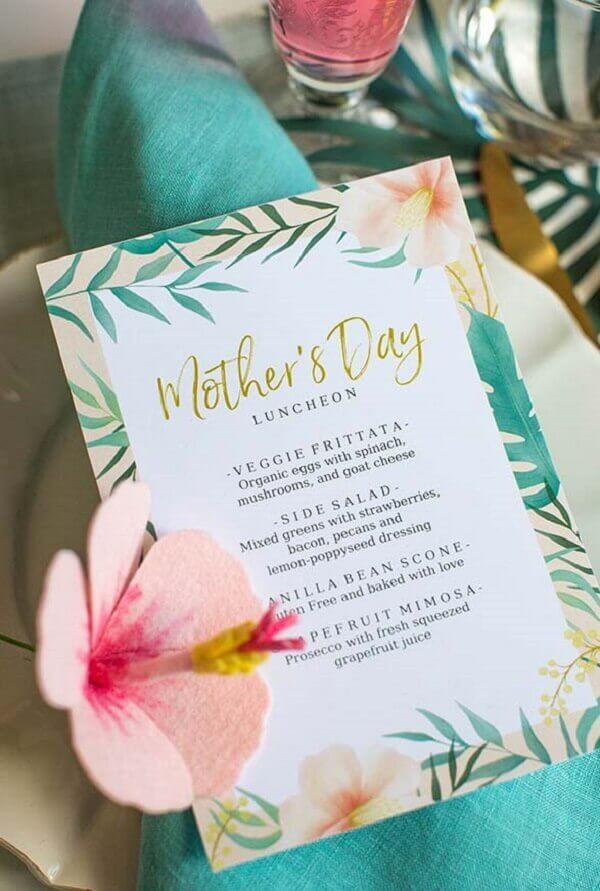 decoração dia das mães menu completo para todos os convidados