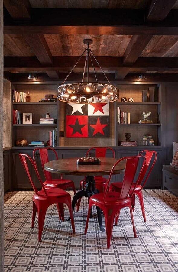 decoração estilo rústico para sala de jantar com cadeiras vermelhas Foto Air Freshener