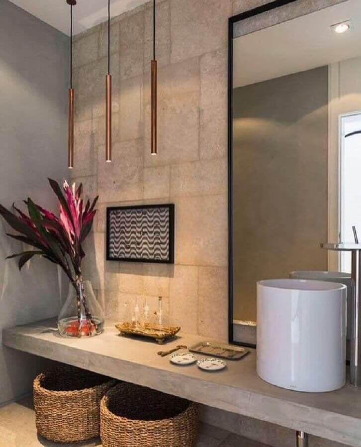 decoração moderna com cuba de cerâmica para lavabo com cimento queimando e luminária pendente minimalista Foto Zozu