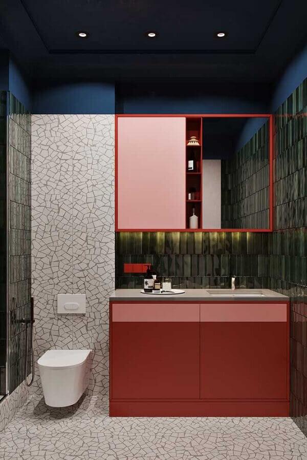decoração moderna para banheiro em tons de vermelho Foto iFuun