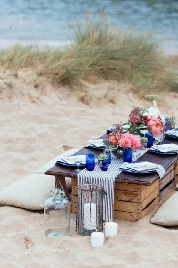 decoração para festa luau simples na praia Foto Garde Meuble