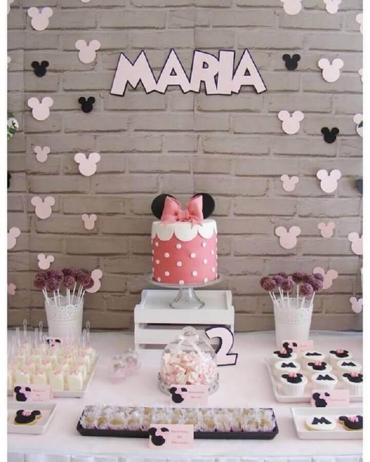 decoração para mesversário de menina com tema Minnie Foto Pinosy
