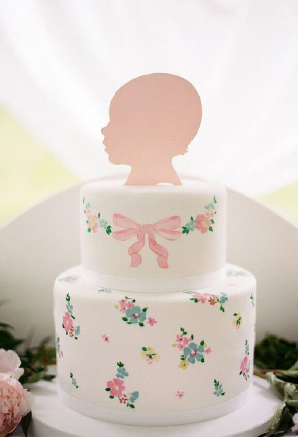 delicado bolo mesversário de menina Foto 100 Layer Cakelet