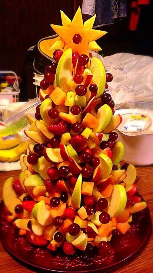 escultura para decoração de mesa de natal de frutas Foto Pinterest