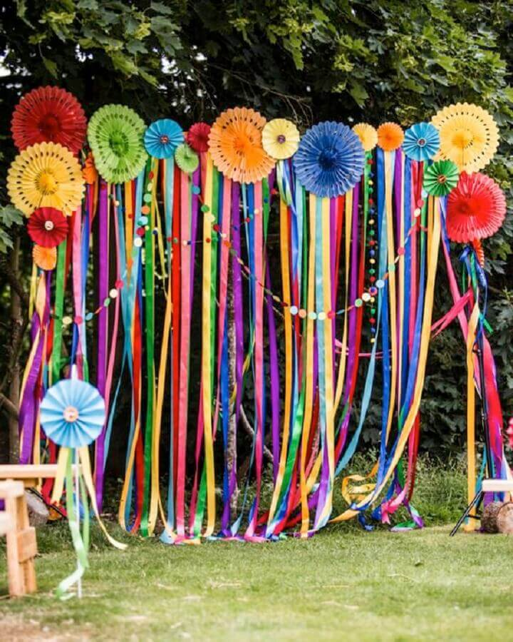 festa luau decoração com fitas coloridas Foto Home Design