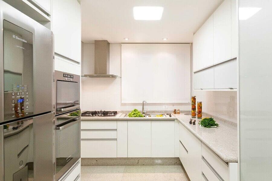granito branco polar para bancada de cozinha toda branca Foto inDica Decor