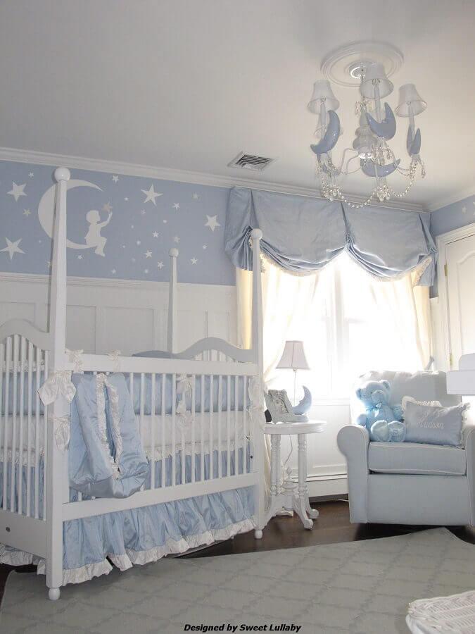 lustre para quarto de bebê masculino azul e branco com adesivo de parede Foto Air Freshener